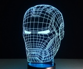 Светильник 3D LED (usb/батарейки) - Iron Man head